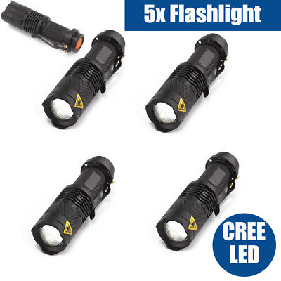 5x Q5 CREE LED Flashlight 1200LM Adjustable Focus Zoomable Torch CREE Lamp Light