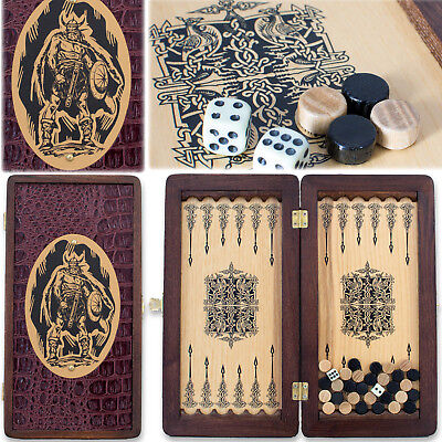 "Handmade Wooden Backgammon Board 12"" VIKING Travel Set Cool Grooms Gift НАРДЫ"