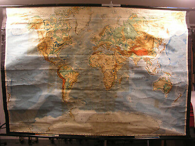 Wall Map Physical World Map Earth Germany 1955 Produced 210x145 Vintage