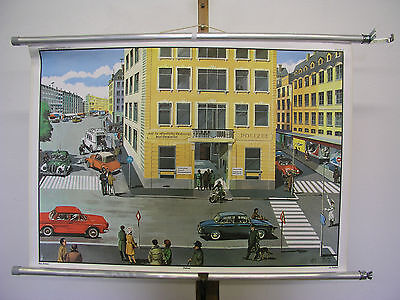 Beautiful Old Schulwandkarte Wall Picture Police Station Vest BMW 90x63cm