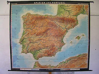 Schulwandkarte Beautiful Old Spain España 195x168 1971 Vintage Map