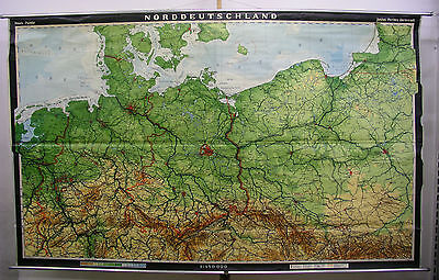 Schulwandkarte Wall Map North German Old Map GDR East Germany 272x166 1973