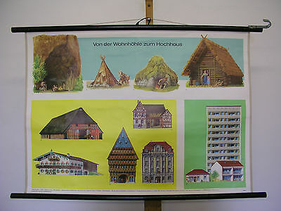 Beautiful Old Schulwandkarte Cave Hut House 90x64cm Home Vintage Map~1960
