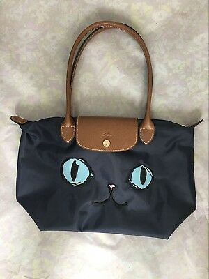 Longchamp Le Pliage Limited Edition Miaou Cat Blue Eyes Small Tote 2605  Model 1ed6fc8126752
