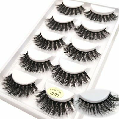 NEW 5Pair 3D Mink False Eyelashes Wispy Cross Long Thick Soft Fake Eye Lashes SY