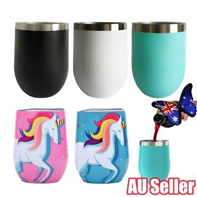 12oz Metal Stainless Steel Wine Tumbler Double Wall Insulated Rambler Cup JO