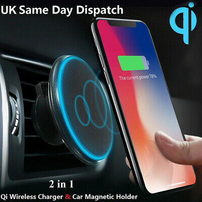 Qi Wireless Car Charger Magnetic Air Vent Mount Holder For Samsung Galaxy S9 S8