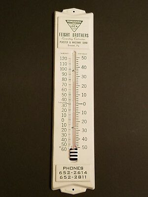Vintage FEIGHT BROTHERS CONTRACTORS Metal Thermometer EVERETT PENNSYLVANIA PA