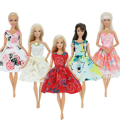 5 Sets Mini Party Gown Dresses Accessories Clothes For 12 in.Doll Toy Xmas Gift
