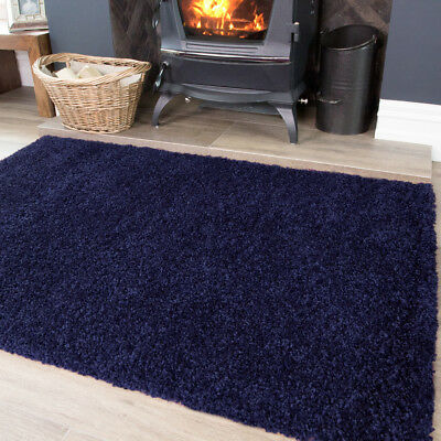 Navy Dark Blue Shaggy Fluffy Soft Warm Small Large Sizes Cheap Room Rug Mat