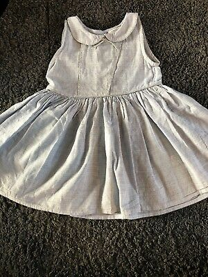 Next Girls Summer Dress Pale Blue And Silver Age 2-3