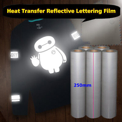 Bright Silver Reflective Heat transfer Vinyl Film DIY Iron on Fabric Clothing