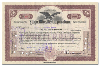 Pig'n Whistle Corporation Stock Certificate (Hollywood, California Restaurant)