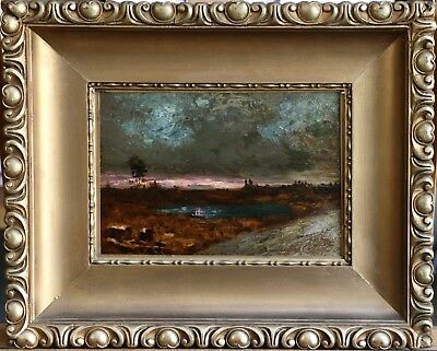 19th CENTURY FRENCH DUTCH IMPRESSIONIST OIL ON PANEL - SUNSET LANDSCAPE - SIGNED