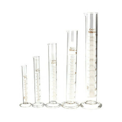 5X(5/10/25/50/100ml Thick Glass Graduated Measuring Cylinder Set ,Glass Meas B9)