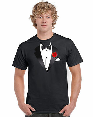 Tuxedo Fancy Dress T-Shirt Costume Ladies Girls Boys Unisex (Short Sleeve)