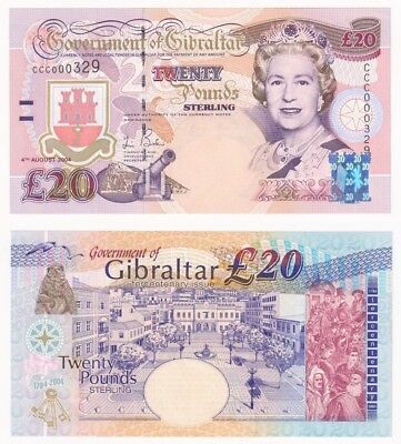 2004 GIBRALTAR £20 Pounds Banknote - P.31a (Low number CCC000329) UNC.