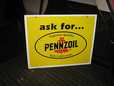 Ask For Pennzoil Metal Double Sided Sign