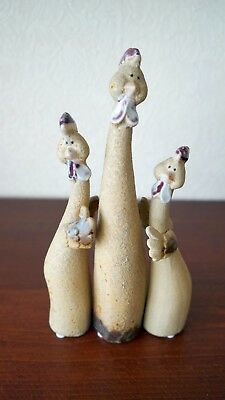 Vintage Chicken Statues Figurines/ Kitchen Decor/ Ceramic/ Set Of 3 Handmade Art