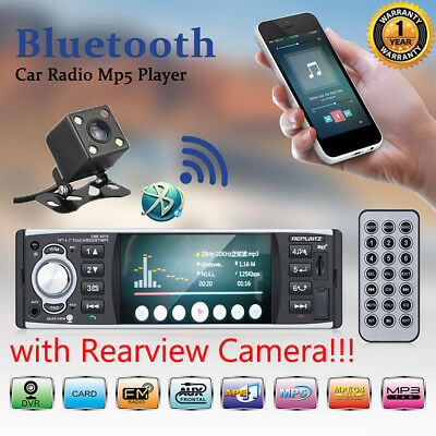 """4.1"""" RDS Touch Screen Car MP5 Player Bluetooth Stereo FM Radio USB/TF AUX+Camera"""