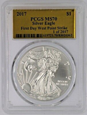 2017 $1 Silver Eagle Pcgs Ms70 First Day West Point Strike 1 Of 2017 Gold Foil