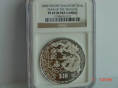 2000 Singapore Piedfort S$10 Lunar Year Of The Dragon 2 Oz Silver Ngc Pf69 Uc