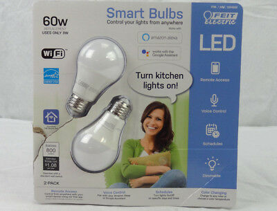 2 Pack FEIT Electric Smart Wi-Fi LED Color Changing Dimmable 60W Bulbs Opened