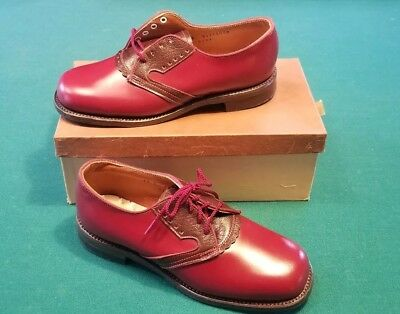 Vintage Child's Boys Girls 2 Tone RED 1950s Oxford Shoes Nos Never Worn 1.5Y