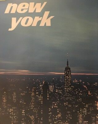 Vintage Travel Poster New York City 1960's Travel Pin-up Empire State Building