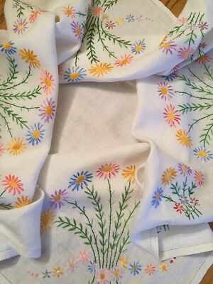 """Exquisite Vintage Tablecloth White Cotton Colourful Embroidered Flowers VGC 33"""""""