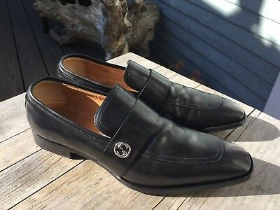 ca00ef24595  730 GUCCI BROADWICK black leather GG dress loafer Men UK 9 (10 US ...