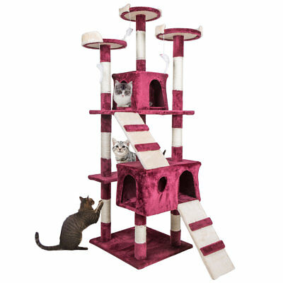 """68"""" Cat Tree Condo Furniture Scratch Post Pet Play House Home Gym Tower Red"""