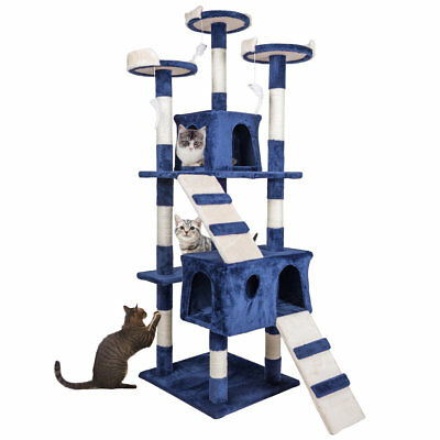"""68"""" Cat Tree Condo Furniture Scratch Post Pet Play House Home Gym Tower Blue"""