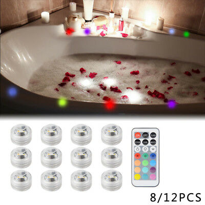 RGB Submersible LED Lights+Remote Controller Wedding Party Garden Swimming Pool