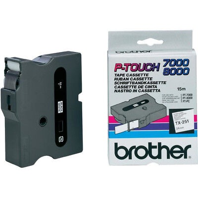 Brother TX251 TX TX251 Labels black on white laminated tape - 15m