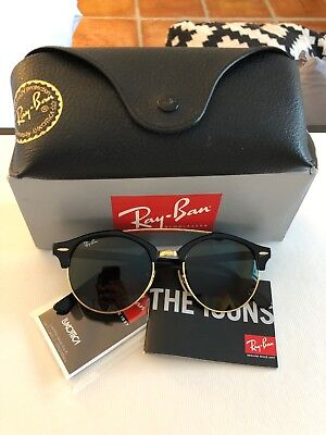 c70c0f1023242 Ray-Ban Clubround Double Bridge Sunglasses RB4346 901 Black Frame G-15 Lens
