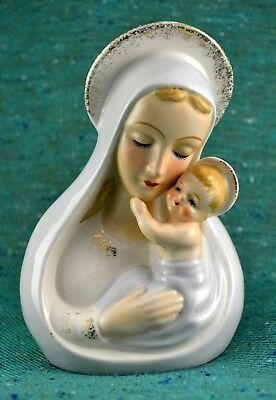 Vtg Shafford Japan Madonna & Child Planter / Vase Baby Jesus & Virgin Mary #4151