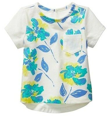 NEW Baby GAP Toddler Girls 12-18 mos White Floral Cotton Short Sleeve T-Shirt