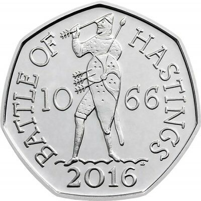 1066 - 2016 50P COIN BATTLE OF HASTINGS RARE FIFTY PENCE coin 1st FREEPOST GREAT