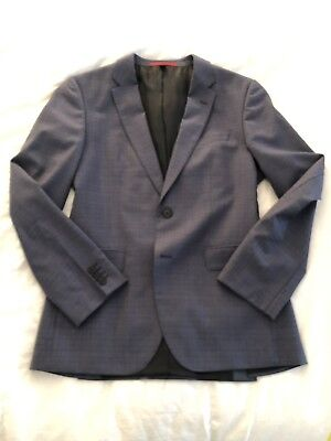 Hugo Boss Red Label 38R C-Jeffery/C-Simmons Suit Two Button Slate Gray/Blue Chec