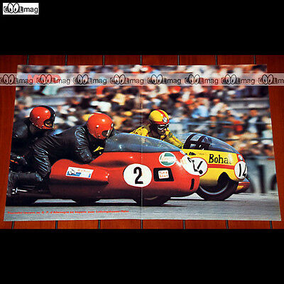 POURCELET/LECORRE & LUTHRINGSHAUSER/HAHN 1973 Side-Car Poster Pilote MOTO #PM793