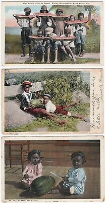 Postcard LOT of 5 -  Black African American Children Eating Watermelons 1906 --