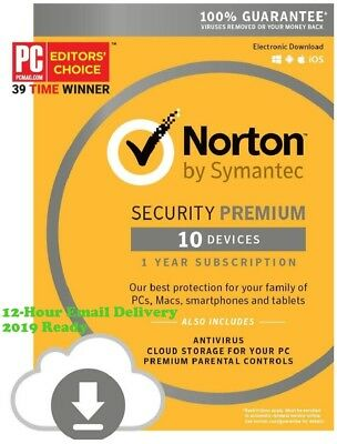 Norton Security Premium 2019 10 Devices 1 Year Subscription - {12-Hour Delivery}