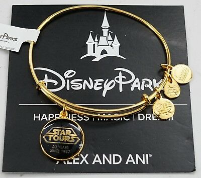 NEW Disney Parks Alex and Ani Star Tours 30 Years Yellow Gold Bangle Bracelet