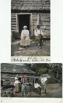 Postcard SET of 2 - Black African American - Aunt Ann Uncle Nat 1908 Tuck Series