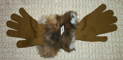 Betmar New York womens pecan brown cream faux fur cuff trim knit stretch gloves