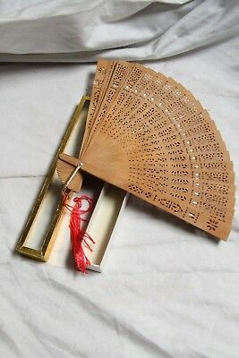 Antique Chinese Sandalwood Carved Reticulated Hand Fan, In Original Box