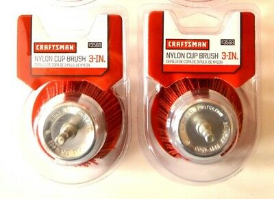 "2 Craftsman 3"" Nylon Infused Cup Brush Wheel 1/4 Hex Shank 93568 Wire Abrasive"