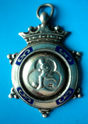 Attractive Silver Enamel Football Medal or Watch Fob 1944 Chester Charles Usher