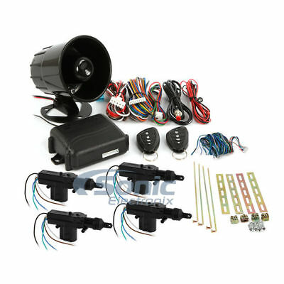 New Encore E3 1-way 3-Channel Car Alarm w/ Transmitter and 4-Door Power Lock Kit